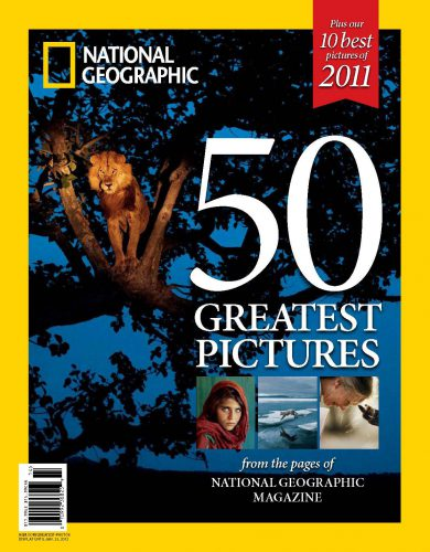 Joel's photo of a tree-climbing lion in Africa's Albertine Rift is featured on the cover of NG's 50 Greatest Pictures special issue.