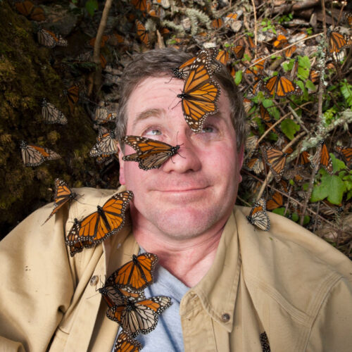 Photo: Joel Sartore on assignment at Sierra Chincua (Chincua Mountain) in Mexico, a wintering spot for monarch butterflies.