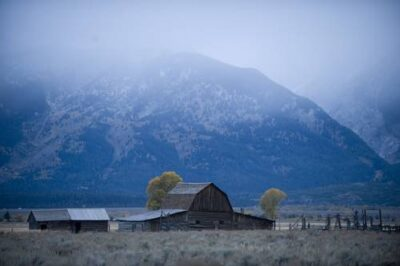Photo: A ranch and mountain range near Jackson Hole, Wyoming.