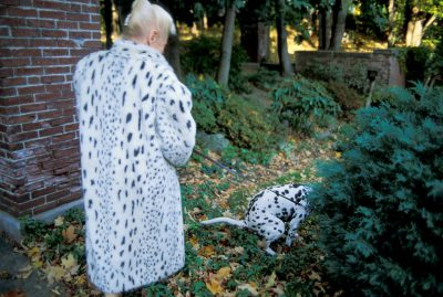 Photo: Hedda Rev-Curry (wearing a faux Dalmatian coat), waits for her Dalmatian to answer the call of nature while on a walk.