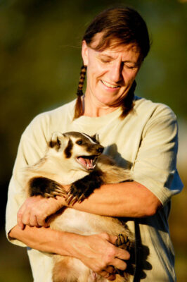 A wildlife rescue member holds her hand-raised badger (Taxidea taxus) at her home in eastern Nebraska.