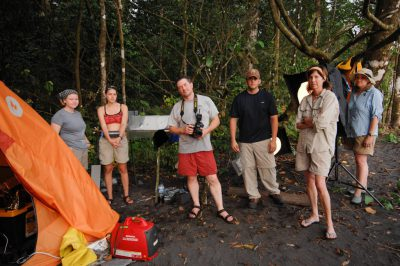 Photo: Joel Sartore with crew members on Bioko Island.