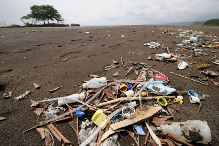 Photo: Plastic garbage washed up by the tide in Equatorial Guinea.