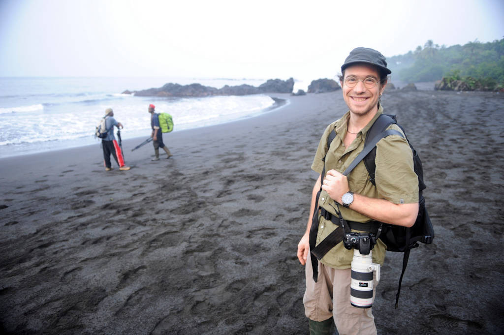 Photo: Photographer Christian Ziegler on assignment at Bioko Island, Equatorial Guinea.