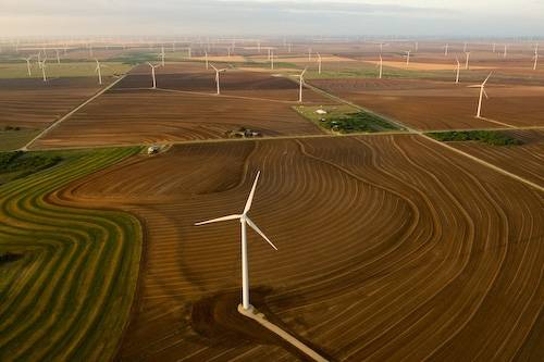 Photo: Aerials of the world's largest wind farm near Abilene, TX. The farm spreads out over 47,000 acres in Nolan and Taylor Counties in Texas.