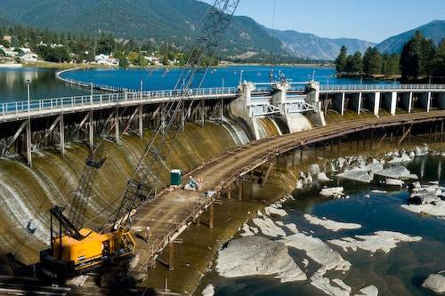 Photo: The Thompson Falls dam, which is currently starting construction to build a fish passage system on the Clark Fork river in Thompson Falls, Montana.