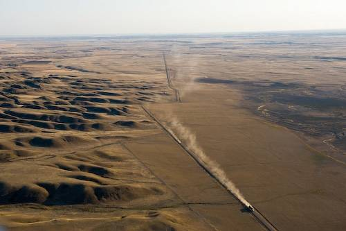 Photo: Aerial of the Bowdoin natural gas drilling area northeast of Malta, Montana.