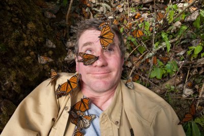 Photo: Joel Sartore on assignment at Sierra Chincua in Mexico, home to the world's largest gathering of monarch butterflies.