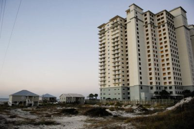 This condominium complex, as well as developing houses and feral cats pose a severe risk to the already federally endangered Alabama beach mouse (Peromyscus polionotus ammobates).