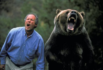 Photo: Doug Chadwick roars along with Tank the Bear at Wasach Mountain Wildlife, an animal training facility in Utah.