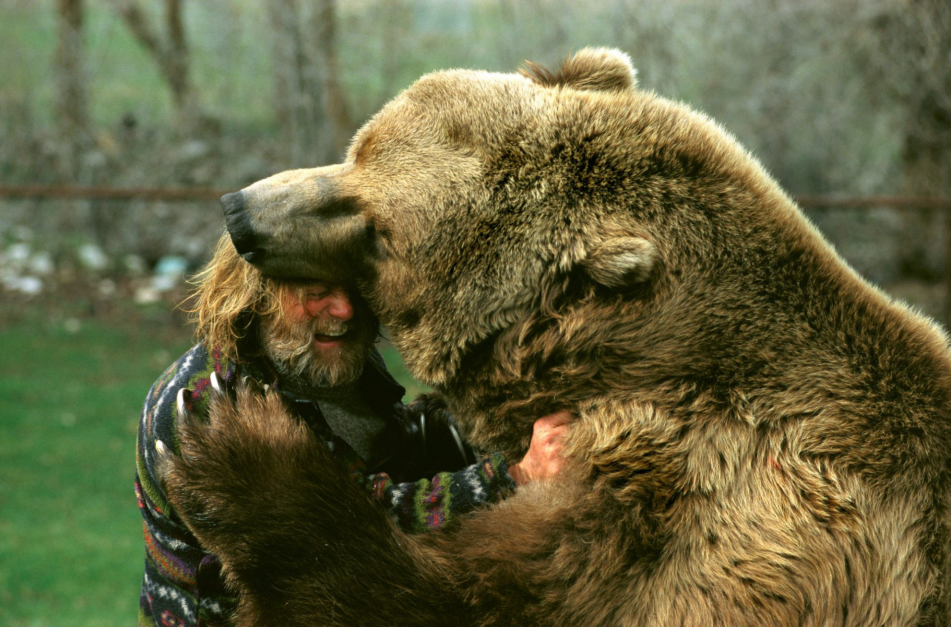 Photo: Doug Seus with Bart the Bear (the late star of movies and television) at their training facility in Utah.