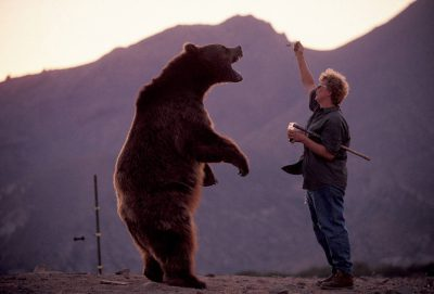 Photo: Barney the bear stands up for a spoonful of grape jelly from his trainer, Ruth LaBarge, just as a gust of wind lifts up the corner of her shirt.