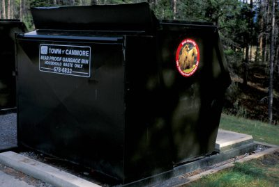 "Photo: ""Bear-proof"" Dumpster near Banff National Park in Canmore, Alberta (CANADA)."