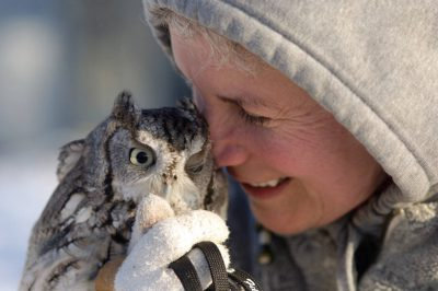 An owl with its keeper at a raptor recovery center in Nebraska.