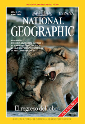 Photo: Joel Sartore's photograph of wolves is featured on the May, 1998 cover of the Spanish edition of National Geographic magazine.