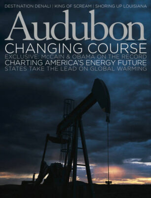 Photo: Joel Sartore's photograph of an oil well, featured on the cover of the September-October 2008 issue of Audubon Magazine.