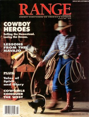 Photo: Joel Sartore's photo of a cowboy roping a kitten is featured on the cover of the September, 1994 issue of RANGE magazine.