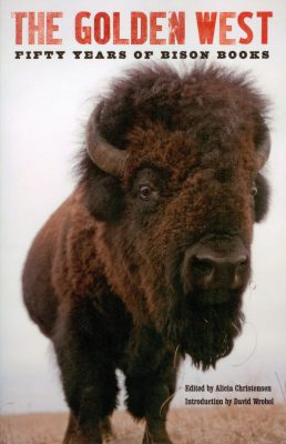 "Joel Sartore's photograph of a bison is featured on the cover of ""The Golden West: Fifty Years of Bison Books."" (University of Nebraska Press)"