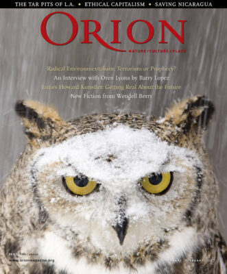 Photo: Joel Sartore's photograph of an owl is featured on the cover of the February, 2007 issue of Orion magazine.