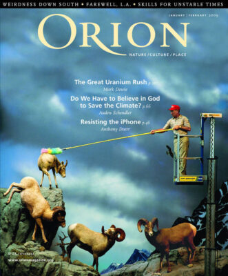 Photo: Joel Sartore's photograph of stuffed sheep being dusted at Cabela's is featured on the January/February issue of Orion magazine.