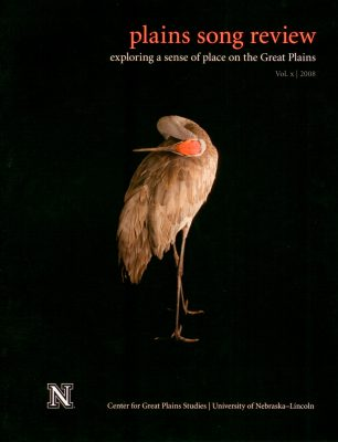 Photo: Joel Sartore's photograph of a sandhill crane is featured on the cover of the 2008 issue of Plains Song Review.