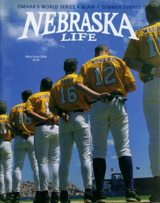 Photo: Joel's photograph of baseball players featured on the May/June 2004 issue of Nebraska Life Magazine.