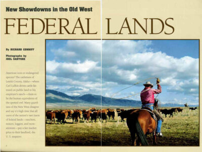 "Photo: The opening spread of the article ""Federal Lands"" in the February, 1994 issue of National Geographic magazine, featuring Joel Sartore's photos."