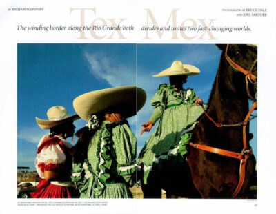 "Photo: The opening spread of the article ""Tex-Mex"" in the February, 1996 issue of National Geographic magazine, featuring Joel Sartore's photos."