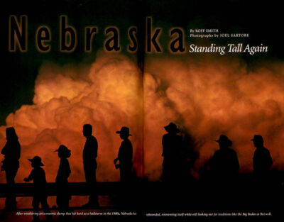 "Photo: The opening spread of the article ""Nebraska: Standing Tall Again"" in the November, 1998 issue of National Geographic magazine, featuring Joel Sartore's photos."