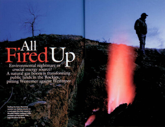 "Photo: The opening spread for the article, ""All Fired Up,"" about coal bed methane drilling, from the July, 2005 issue of National Geographic magazine, featuring Joel Sartore's photographs."