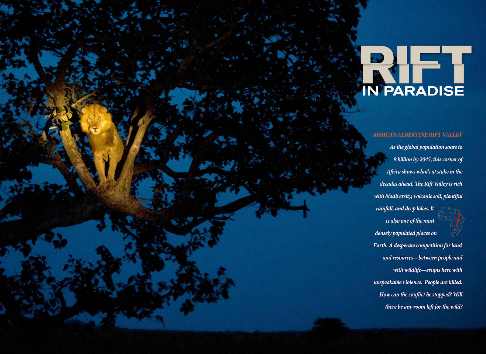 Photo: The opening spread of the Albertine Rift article, from the November, 2011 issue of National Geographic magazine