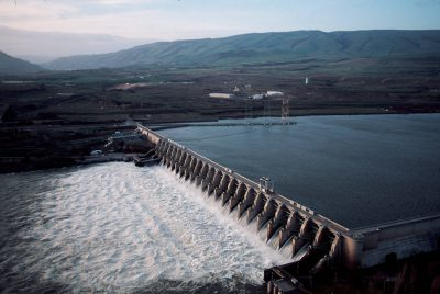 Photo: Hydroelectric dams like the Dalles on the Columbia River cause problems for salmon.