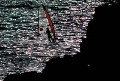Photo: Windsurfer on the Columbia River near the Dalles Dam.