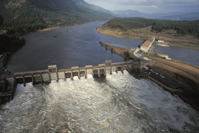 Photo: Hydroelectric dams like the Bonneville on the Columbia River cause problems for salmon.