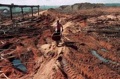Photo: Mountains of sawdust outside a sawmill in Paragominas, Brazil in the Brazilian Amazon.
