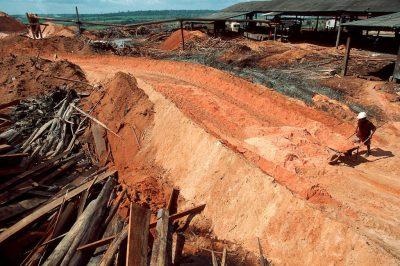 Photo: Mountains of sawdust outside a sawmill in Paragominas, Brazil along the Brazilian Amazon.