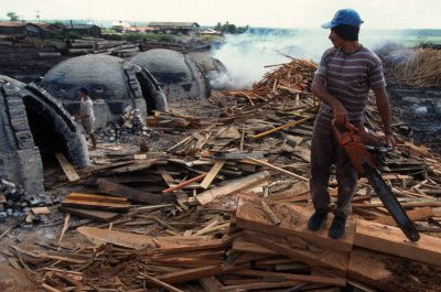 Photo: Scrap wood from a timber mill in Paragominas, Brazil, is burned to make cooking charcoal in beehive-shaped kilns.