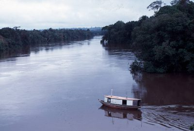 Photo: A typical river boat makes its way up the Capim River in the Brazilian Amazon.