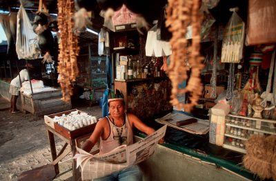 Photo: Guajara man selling medicinal plants from the Amazon rain forest at Sao Braz market in Belem, Brazil.