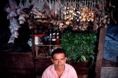 Photo: Medicinal plants and animal parts hang above a vendor at the Ver-O-Peso market in Belem, Brazil.