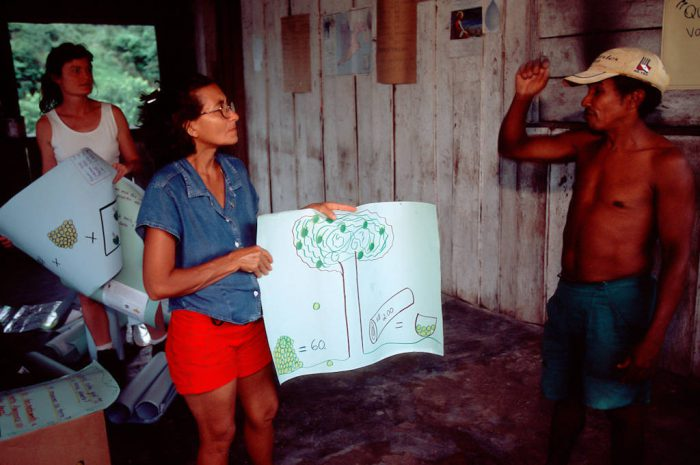 Photo: Gloria, a native Amazonian, leads a workshop on fruits and medicinal plants of the rainforest.
