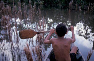 Photo: A Brazilian boy paddles a canoe to market.