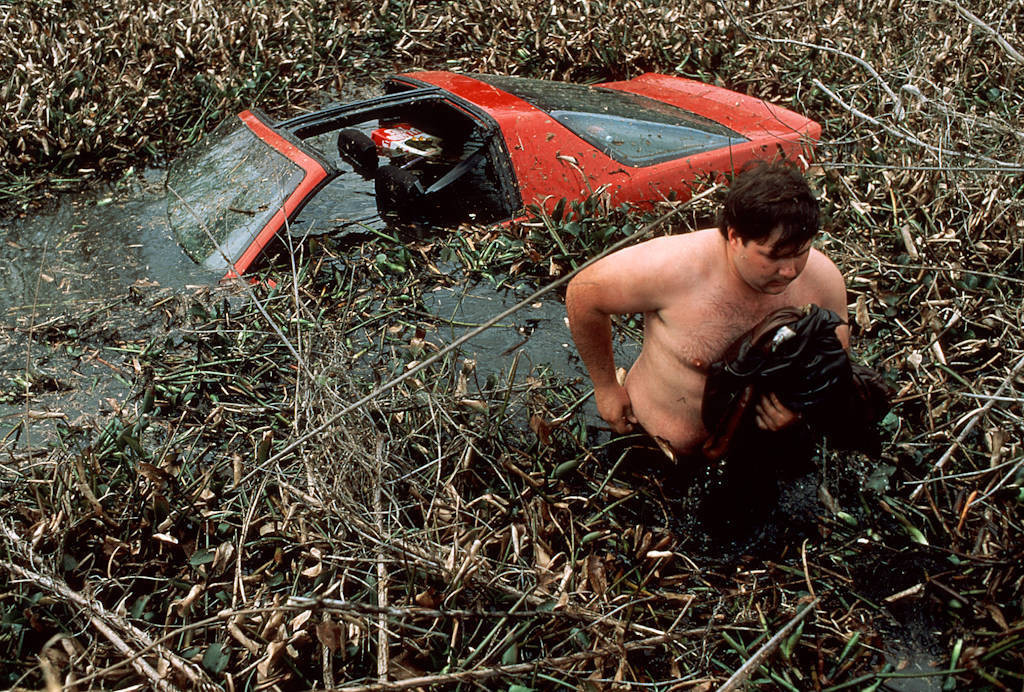 Photo: A wrong turn on the narrow raised roads of Louisiana's bayou country can prove diastrous -- the Camaro's owner watches as it sinks into the marsh.