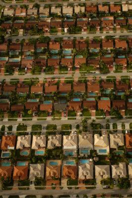 Photo: Aerial of housing developments on the outskirts of Miami, Florida.