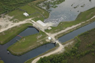 Photo: Aerial of canals at the edge of wetlands near Miami, Florida.