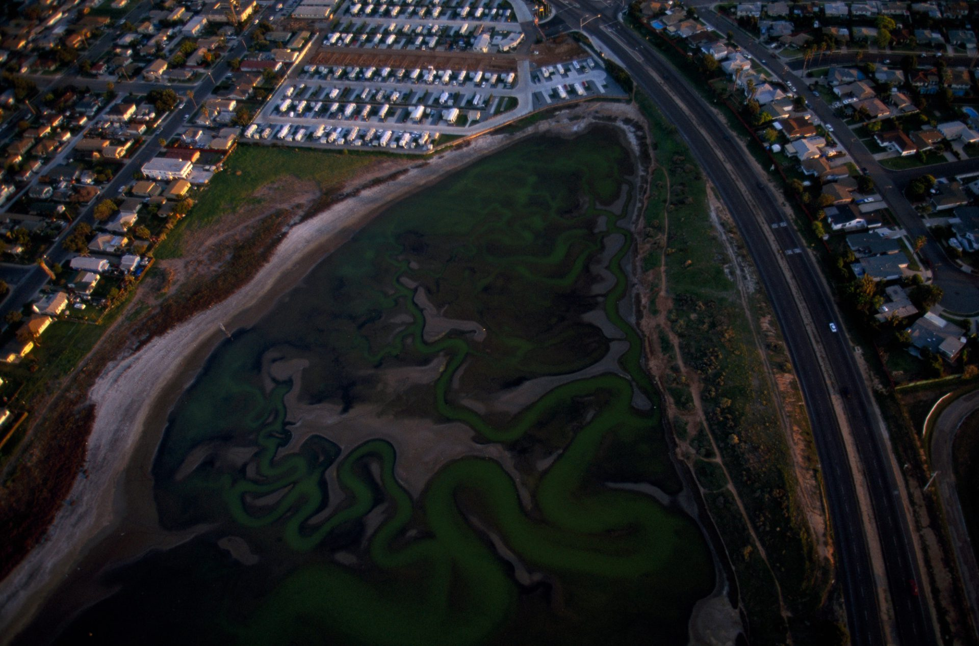 Photo: Suburbs surround the salt ponds of San Diego Bay, part of which may become a new National Wildlife Refuge in California.