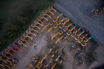 Photo: Aerial shots of construction equipment in Brisbane, Queensland.