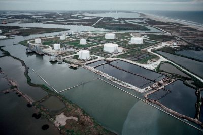 Photo: An oil slick near a Texas holding facility.