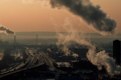 Photo: Emissions from factories in Hartford, Connecticut.