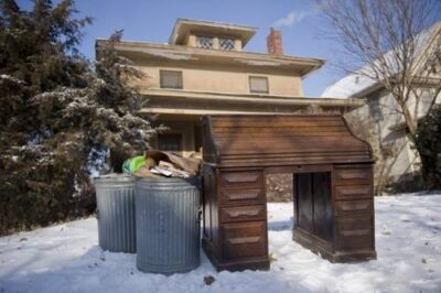 Photo: An antique desk waits for the garbage man in Lincoln, Nebraska.